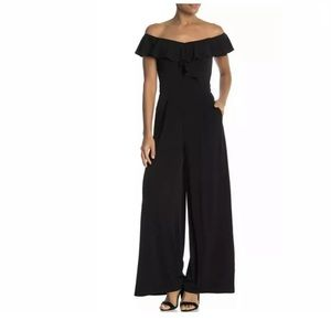 ELIZA J Off the Shoulder Ruffle JUMPSUIT SZ8 BLACK
